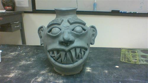 Face Pot from Ceramics 3 student